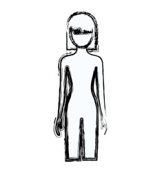 Blurred silhouette faceless front view woman naked vector