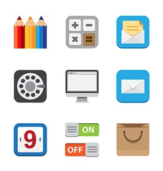Business and interface flat icons vector image