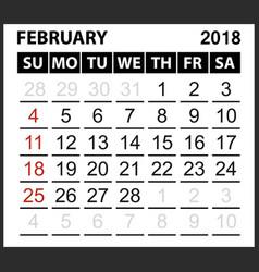 Calendar sheet february 2018 vector