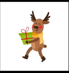 cartoon christmas reindeer character with present vector image