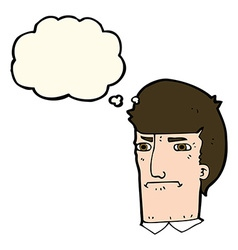Cartoon man narrowing eyes with thought bubble vector