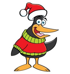 Cartoon penguin wearing a sweater and a santa hat vector image