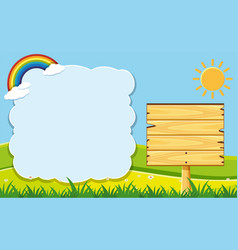 cloud frame and wooden board in garden vector image
