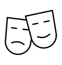 Comedy and tragedy theatre masks line icon vector