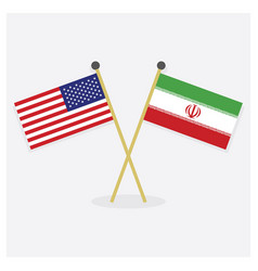 Crossed united states and iran flags vector