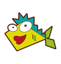 cute fish comic character vector image