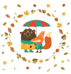 Cute fox and bear hugging under umbrella in wreath vector