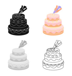 Decorating of birthday cake icon in cartoon style vector