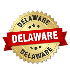 Delaware round golden badge with red ribbon vector
