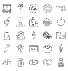 Dining room icons set outline style vector