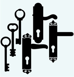 Door handles and keys vector