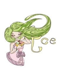 Elegant stylized girl doll with long flowing hair vector image