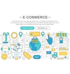 elegant thin flat line E-commerce concept vector image vector image