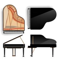 Grand piano set realistic black grand vector