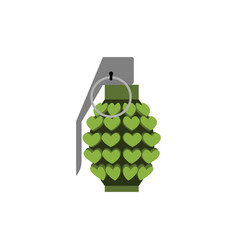 grenade love isolated heart bomb military vector image