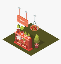 Isometric flower shop vector