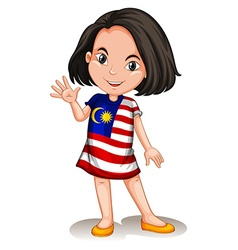 Malaysian girl waving hello vector