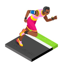 Marathon runners fitness working out isometric vector