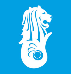 merlion statue singapore icon white vector image vector image