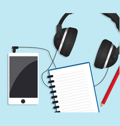 mobile smartphone with headphones and notebook vector image vector image