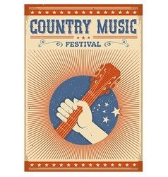 Music festival background with guitar and hand vector image vector image
