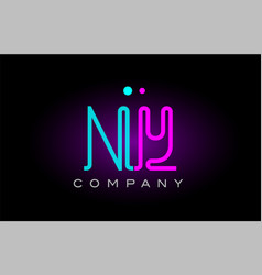 Neon lights alphabet ny n y letter logo icon vector