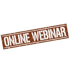 Online webinar square grunge stamp vector