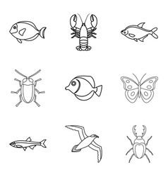 sea fish icons set outline style vector image vector image