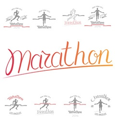 Set of marathon logotypes long distance running vector image vector image