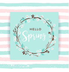 spring frame of branches and leaves vector image vector image