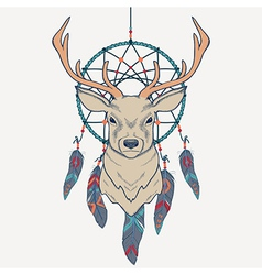 With deer and dream catcher vector