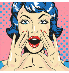 woman screaming announcing news pop art comic vector image vector image