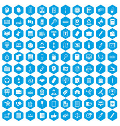 100 office work icons set blue vector