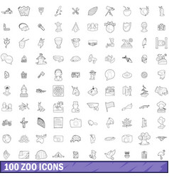 100 zoo icons set outline style vector