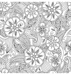 Seamless pattern with flowers and leafs in doodle vector