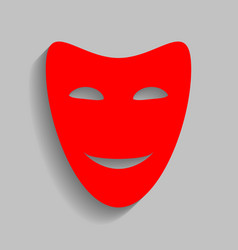 Comedy theatrical masks red icon with vector
