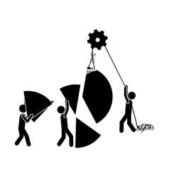 black silhouette pictogram with construction vector image