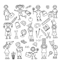 hand drawn doodle back to school icons set vector image