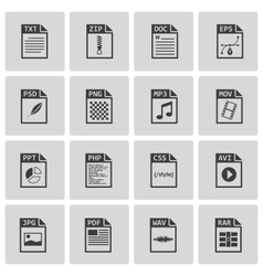 Black file type icons set vector