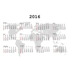 2016 Calendar for agenda with world map vector image vector image