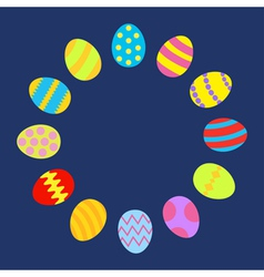 Colored easter egg set round frame on blue vector