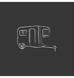Caravan drawn in chalk icon vector