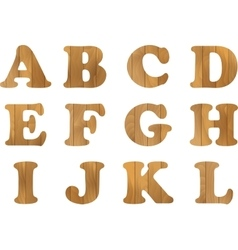 Wooden alphabet set with wood letters for vector
