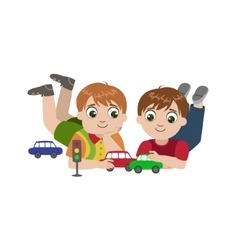 Boys Playing With Toy Cars vector image
