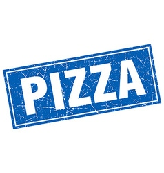 Pizza blue square grunge stamp on white vector