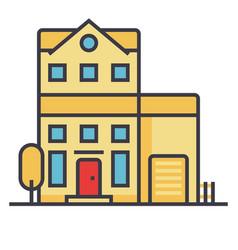 apartment building flat line concept vector image