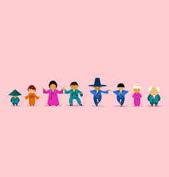 Asian family wearing traditional clothes cartoon vector