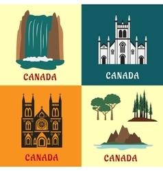 Canadian travel landmarks flat icons vector