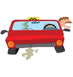 Cartoon man taxi driver creaming vector image