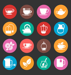 colorful tea thin line icons set vector image vector image